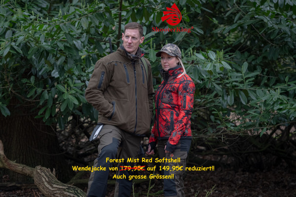 Shooterking Forest Mist Red Softshell Wendejacke